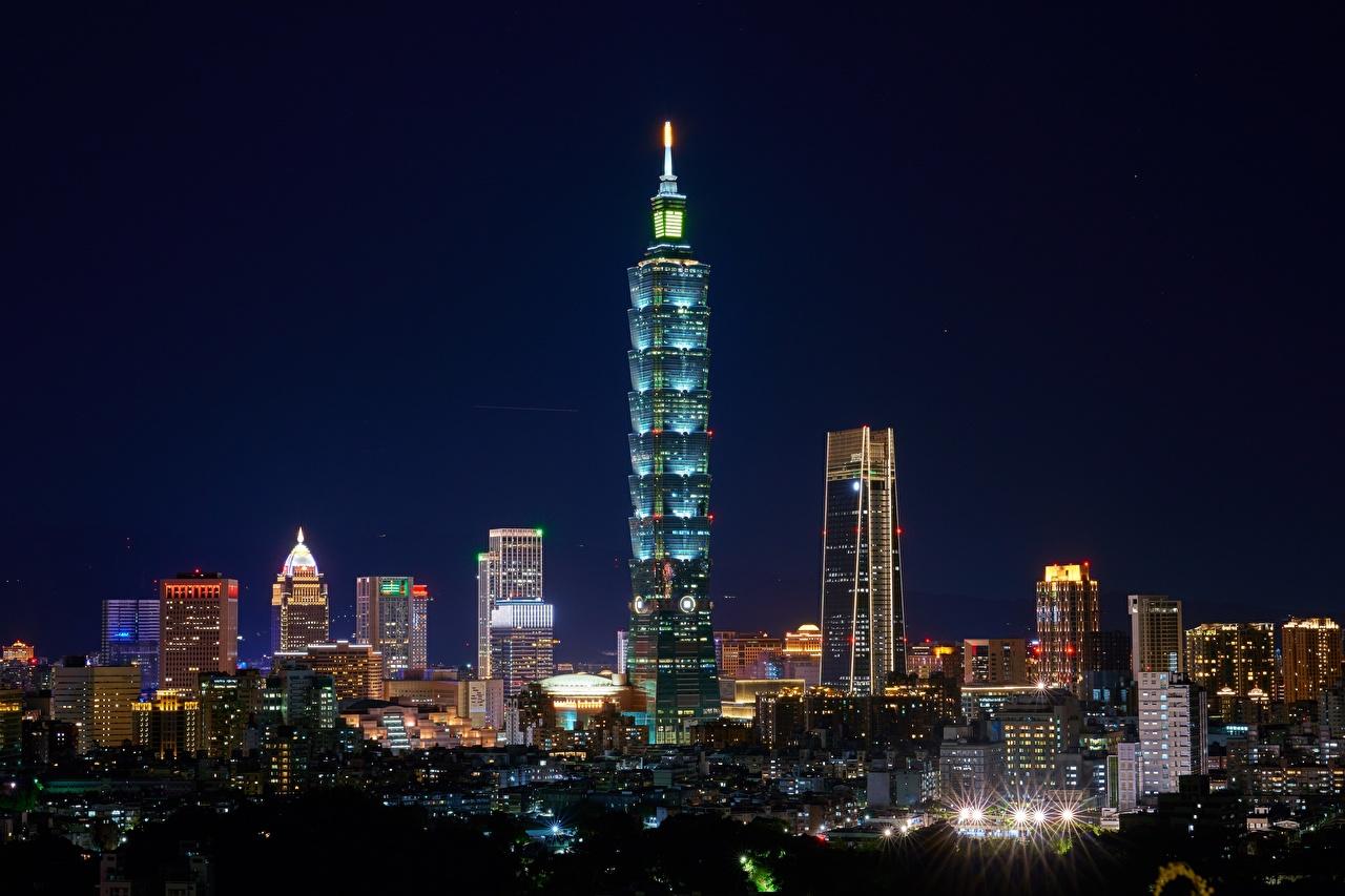 Фото Тайбэй Тайвань Ночные Небоскребы Города Ночь