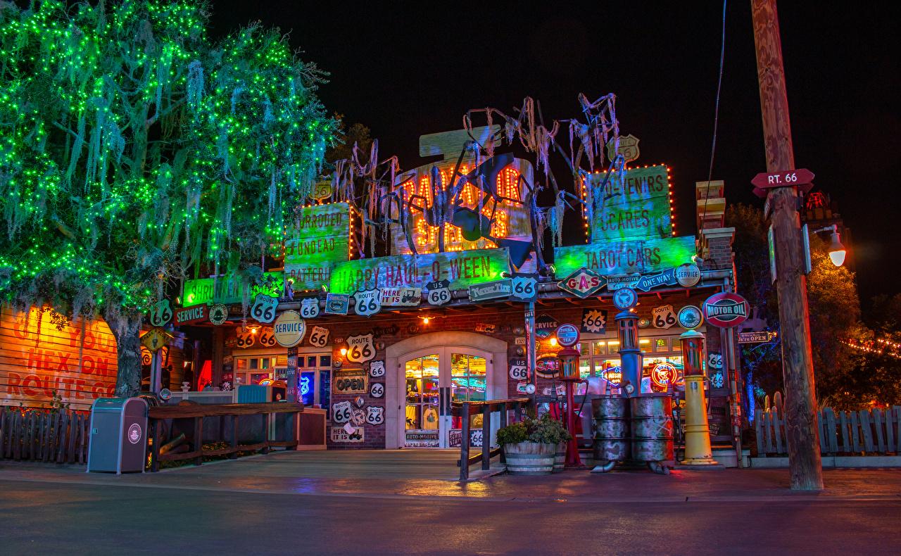 Картинки Анахайм Калифорния Диснейленд США Парки Ночные Уличные фонари Электрическая гирлянда Дома Города Деревья штаты Ночь Гирлянда Здания