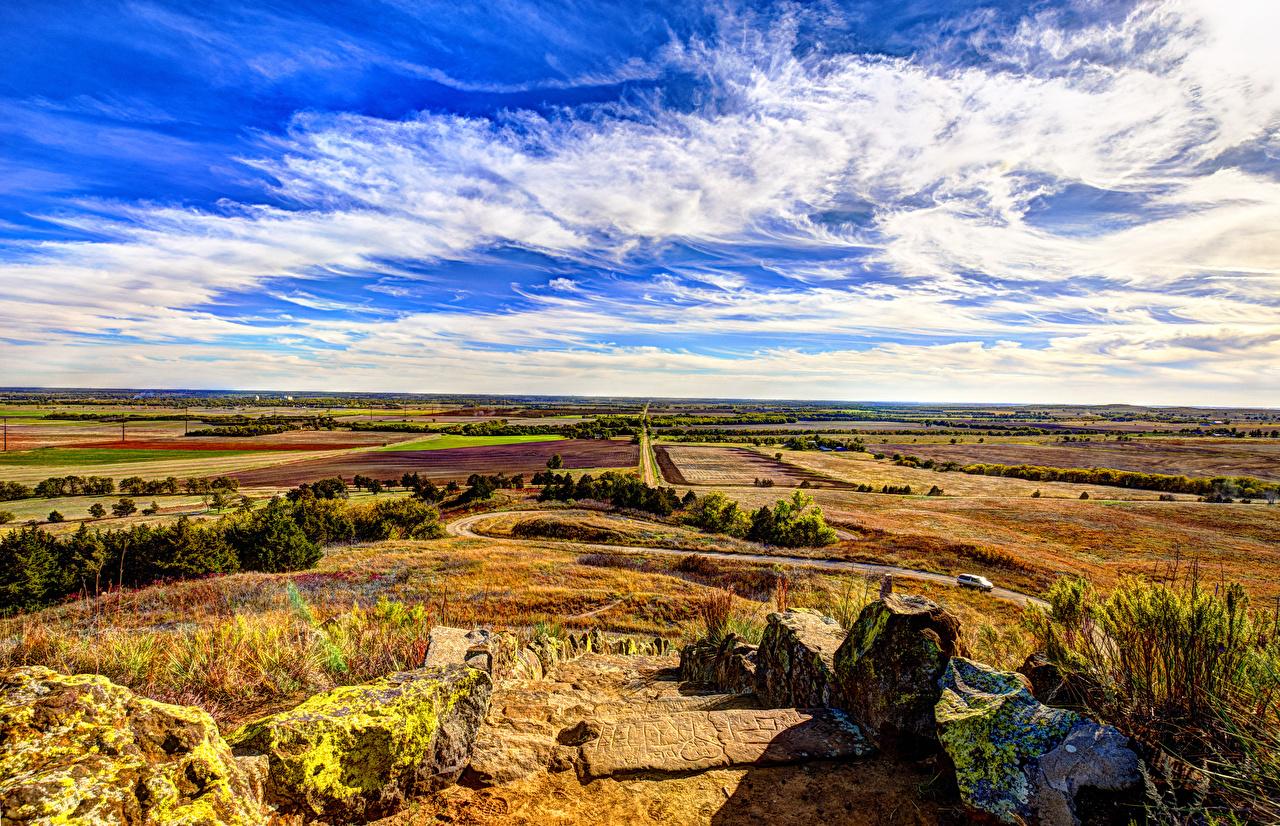 Фотографии США Kansas Природа Небо Поля Камни облачно штаты америка Камень облако Облака