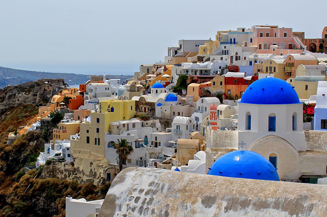Обои для рабочего стола Греция OIA город Здания Дома Города