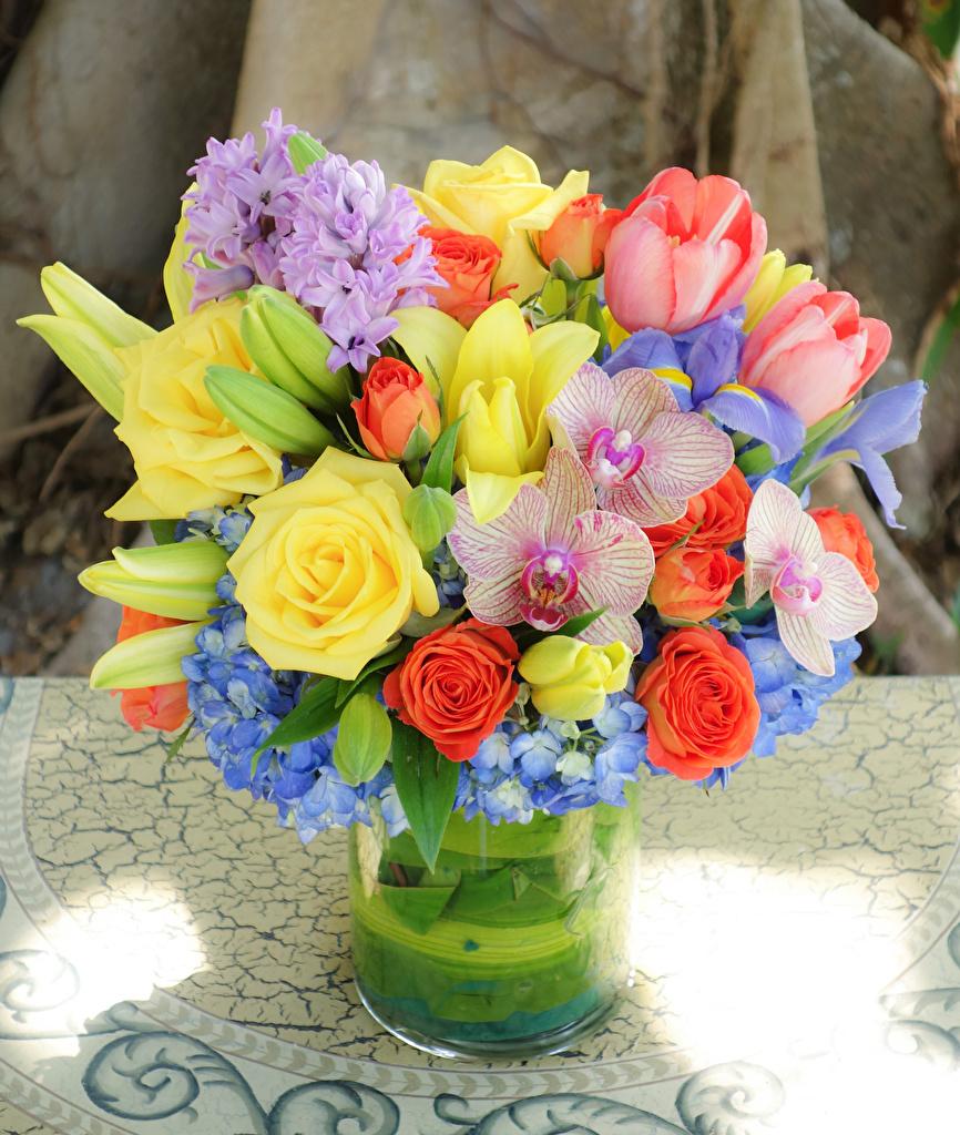 Фотографии Букеты Розы тюльпан орхидея цветок букет роза Орхидеи Тюльпаны Цветы