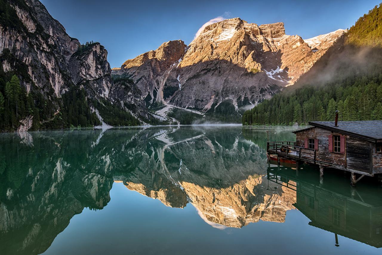 Фотографии альп Италия Dolomites, Alto Adiga Горы Природа Озеро отражении Альпы гора Отражение отражается