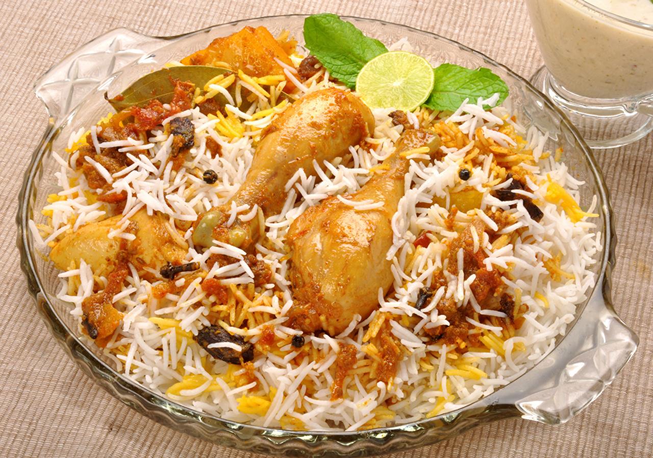 Обои для рабочего стола Рис Курица запеченная Пища Вторые блюда Еда Продукты питания