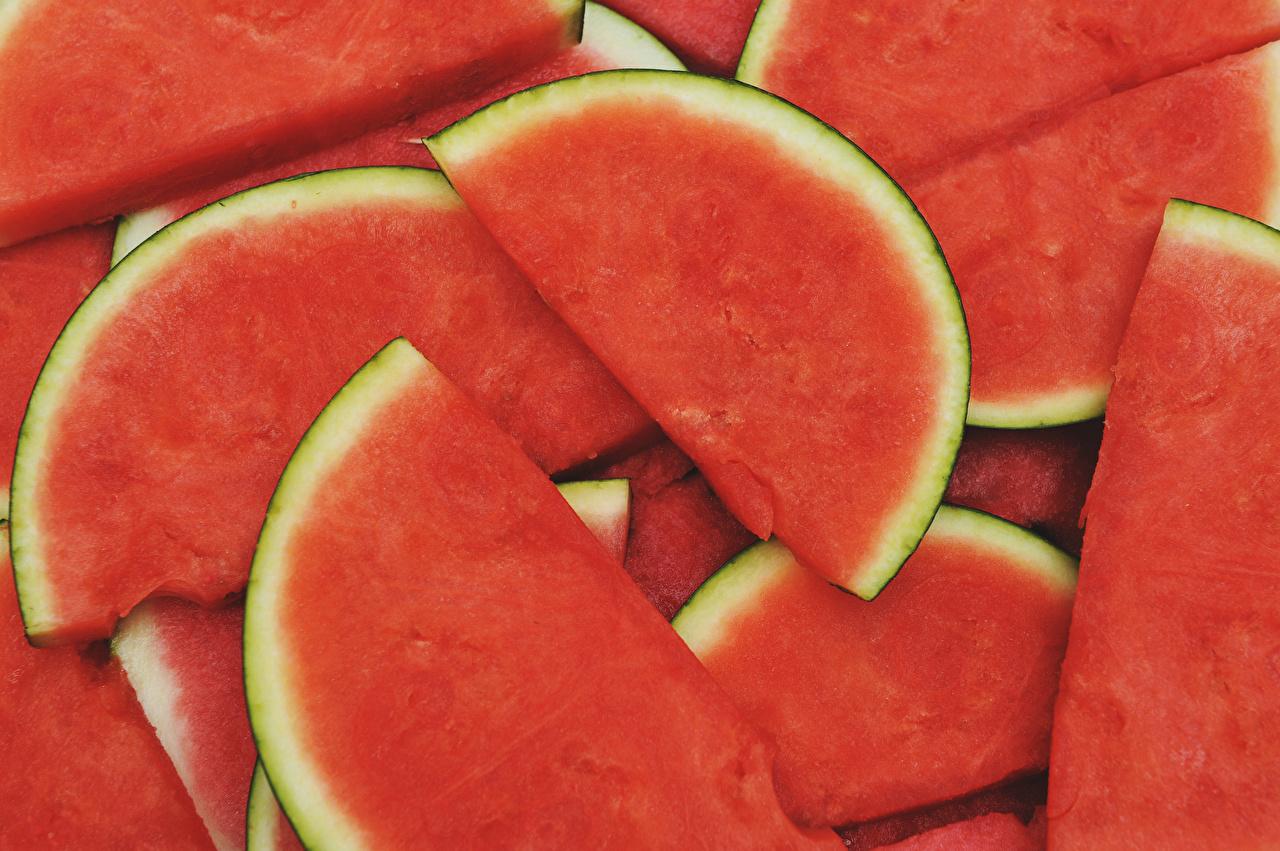 Фотография Кусок Арбузы Еда Крупным планом часть кусочки кусочек Пища Продукты питания вблизи