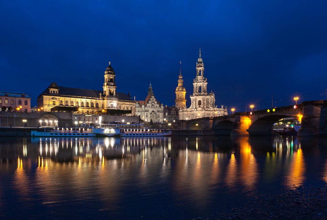 Фотографии Дрезден Германия Реки в ночи Города река Ночь речка ночью Ночные город