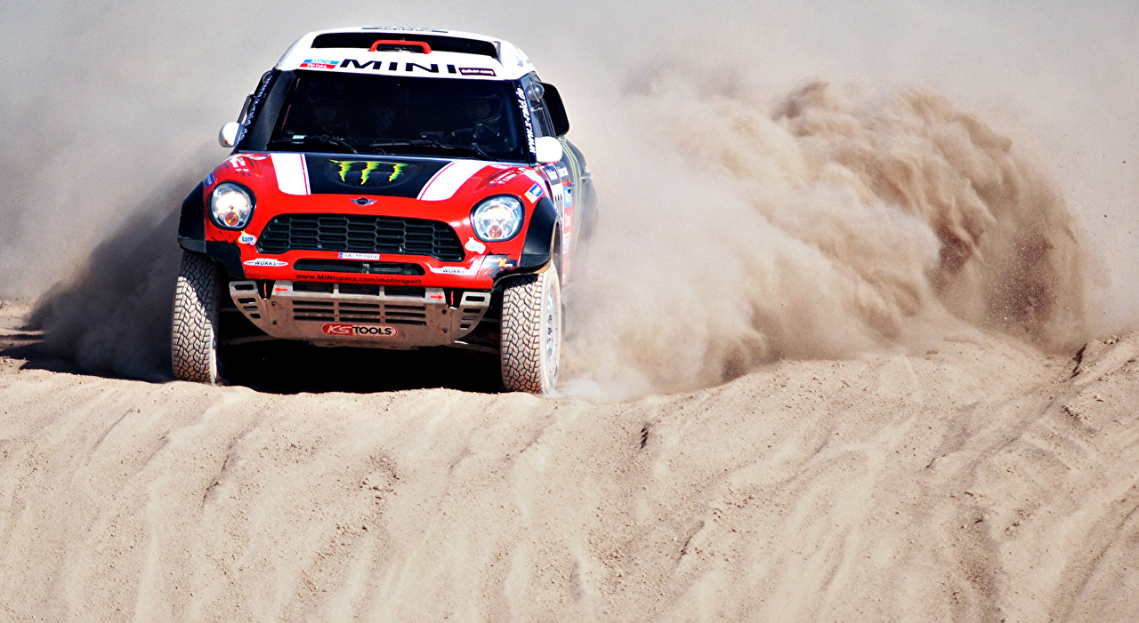 Картинки Мини Стайлинг Mini Cooper Dakar X-raid 2014 Песок автомобиль Тюнинг песка песке авто машины машина Автомобили