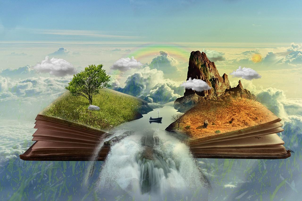 Картинки Фантасмагория Утес Фэнтези Водопады Трава Книга Лодки Облака Деревья Скала Фантастика