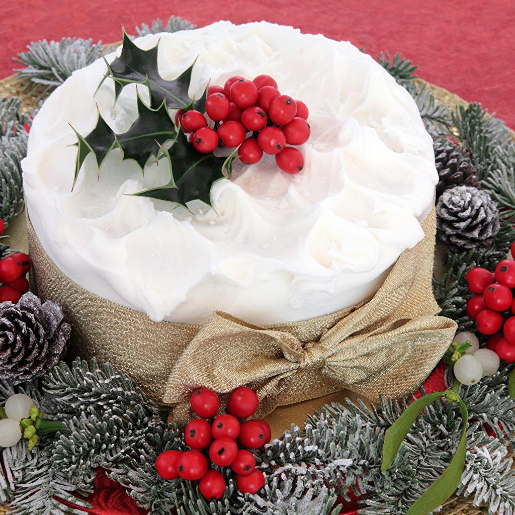 Картинки Рождество Торты Пища Шишки Ягоды Новый год Еда шишка Продукты питания