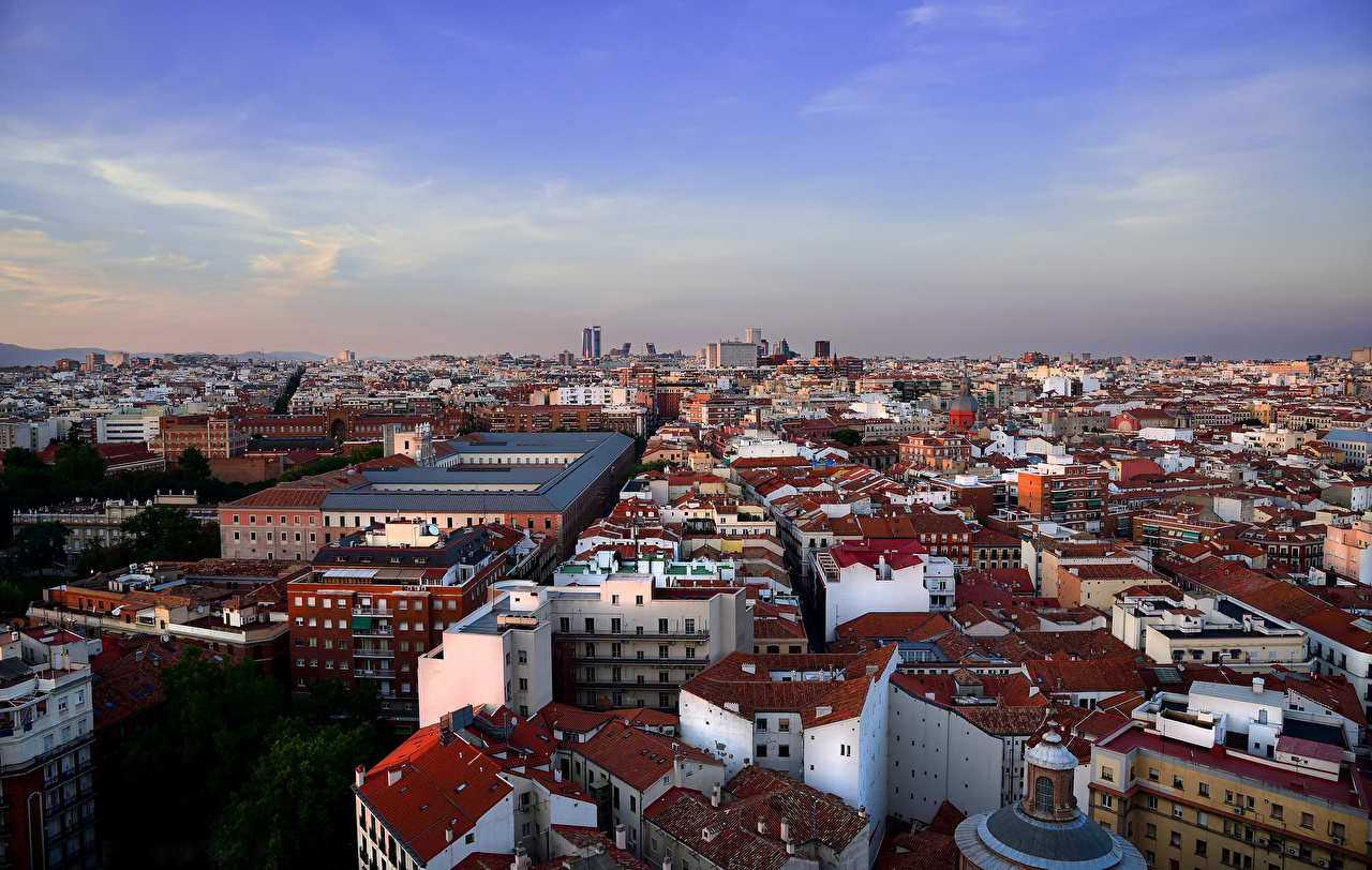 Картинки Мадрид Испания Сверху Города Здания Дома город
