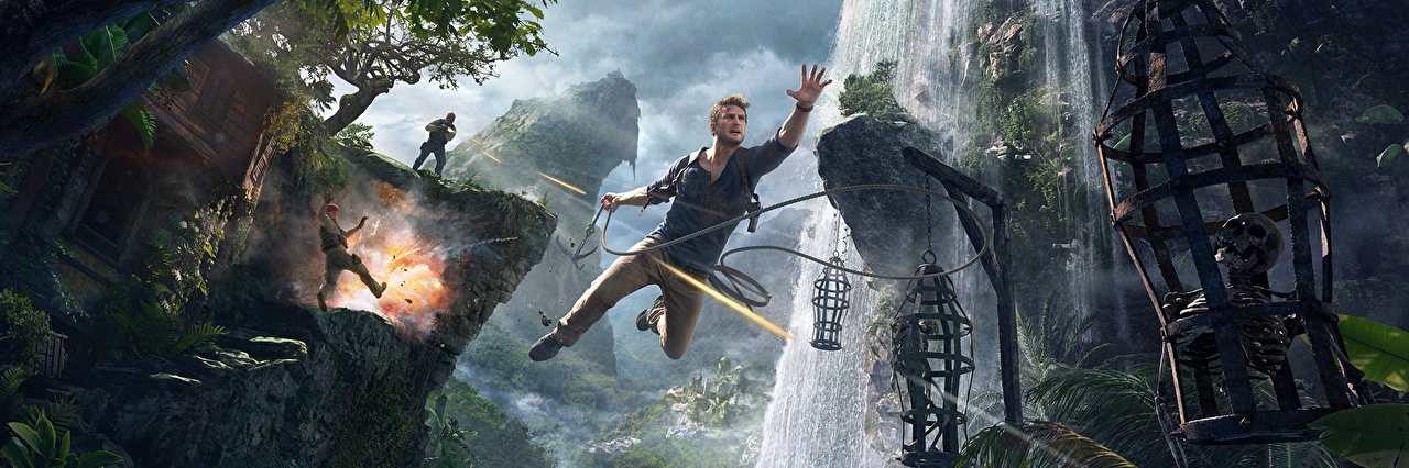 Uncharted Мужчины Водопады Uncharted 4: A Thief's End Nathan Drake Прыжок Скелет Выстрел Скала 11 глаз, стрельба, Утес Игры