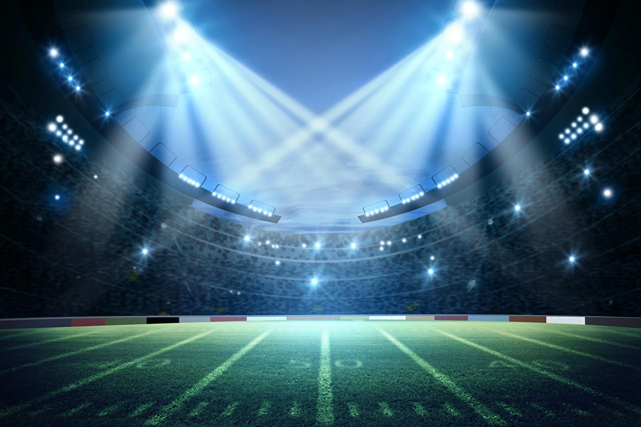 Фотография Лучи света спортивные Стадион газоне Спорт спортивный спортивная Газон