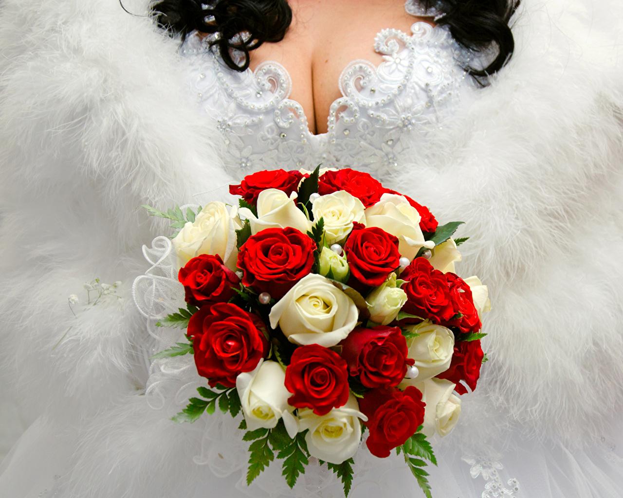 Картинки Свадьба Букеты роза Цветы брак свадьбы свадьбе свадебные букет Розы цветок