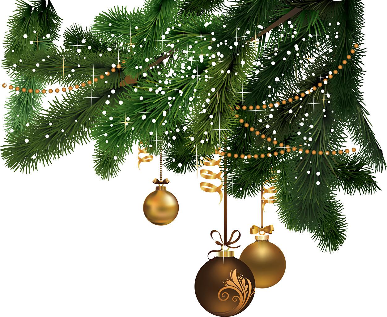 Картинки Новый год Шар ветвь ленточка Рождество Ветки ветка Лента Шарики на ветке