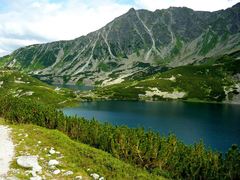 Фото Польша Bukowina-Tatrzańska Горы Природа Озеро Пейзаж гора
