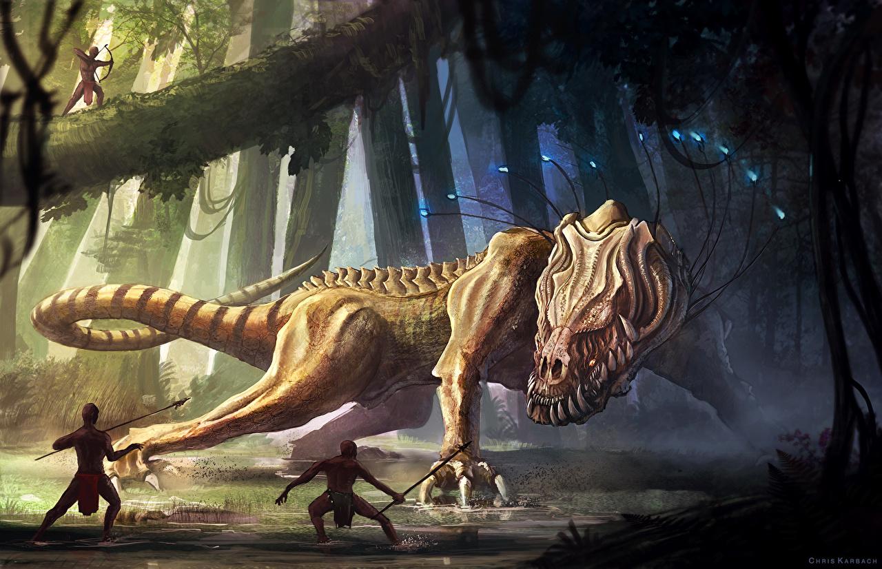 Картинка динозавр монстр Фантастика лес Динозавры Монстры чудовище Фэнтези Леса