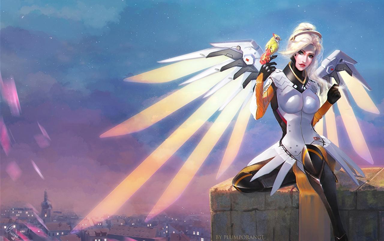 Фотографии Overwatch Mercy Фантастика Игры Ангелы Овервотч Фэнтези