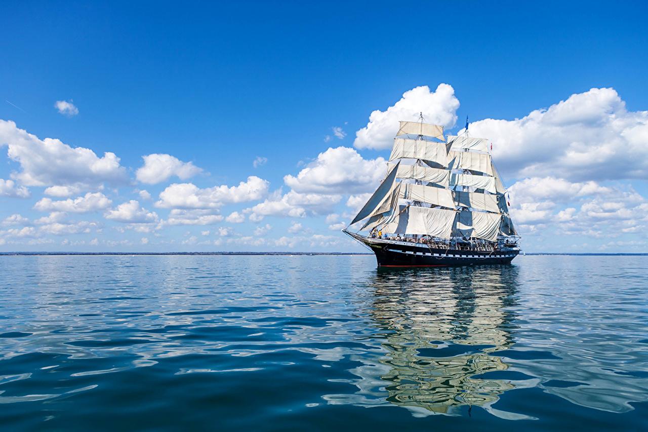 Фотографии Море Небо Корабли Парусные облако корабль Облака облачно