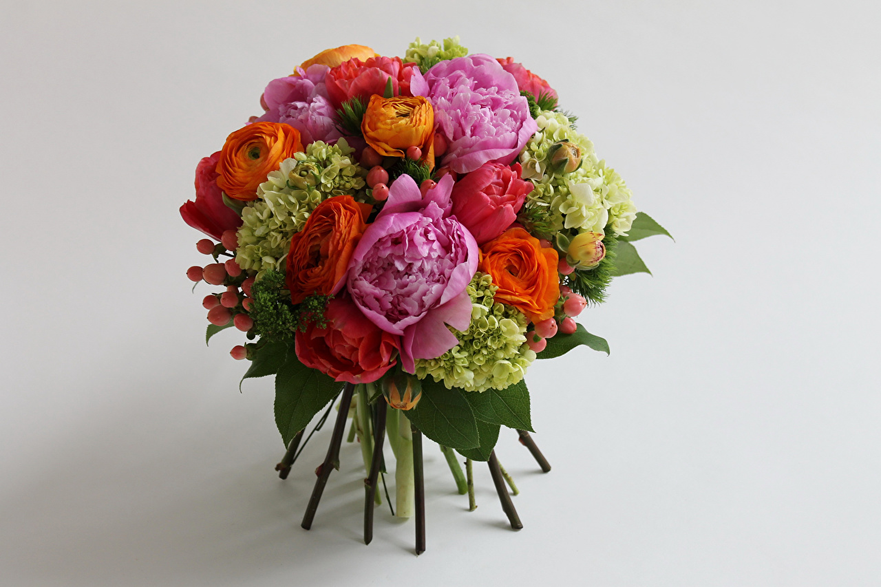 Фото Букеты Розы Лютик Цветы Гортензия Серый фон