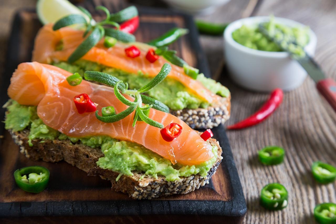 Картинка Лососи Рыба бутерброд Еда Бутерброды Пища Продукты питания