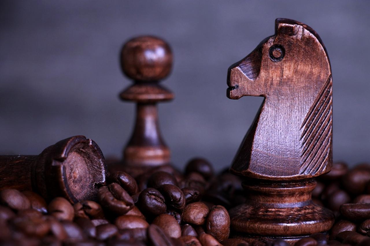 Фотографии Шахматы Кофе Зерна из дерева Крупным планом зерно Деревянный вблизи