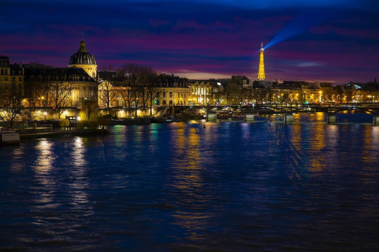Картинка Париж Франция башни Seine Ночь речка город париже Башня Реки река ночью в ночи Ночные Города