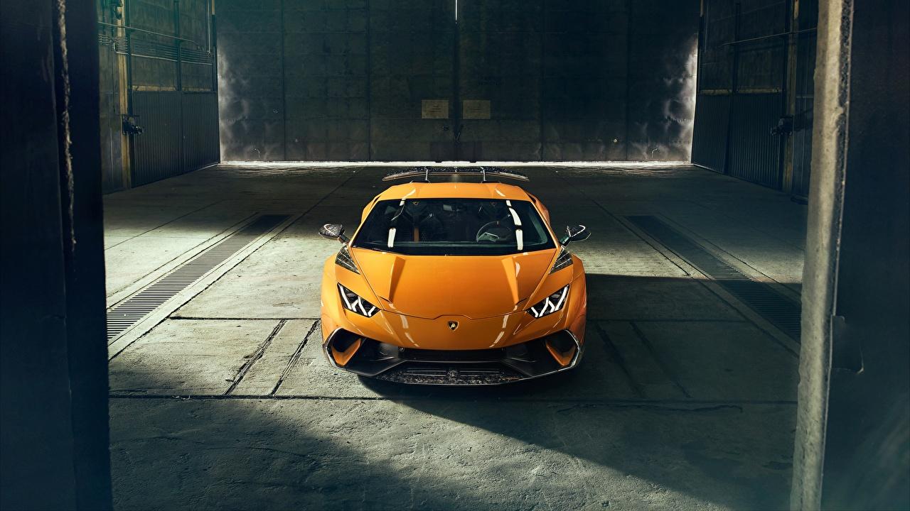 Фотографии Ламборгини 2018 Performante Novitec Huracan желтая машина Lamborghini желтых желтые Желтый авто машины автомобиль Автомобили