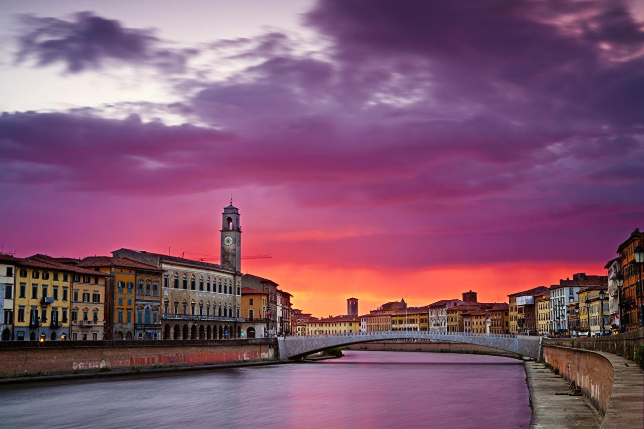 Картинка Италия Pisa Toscana мост Небо Рассветы и закаты Города Мосты рассвет и закат город