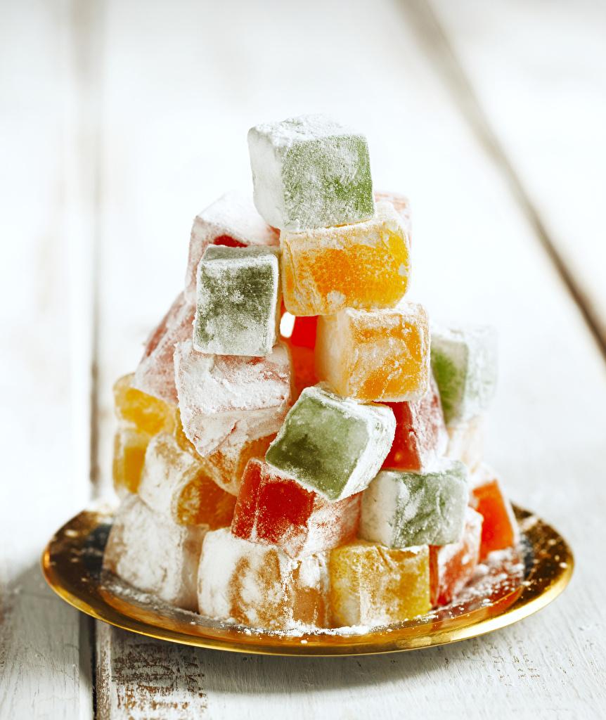 Фото Лукум Сахарная пудра Пища Сладости Еда Продукты питания сладкая еда