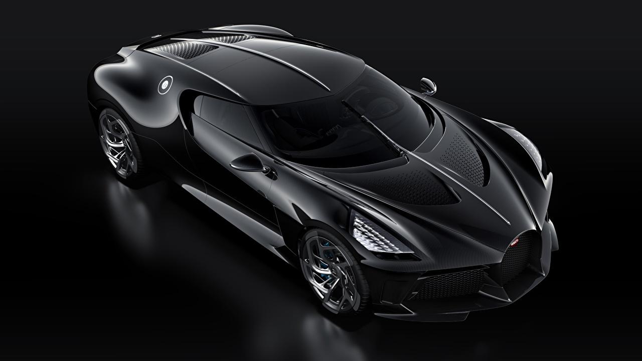 Картинка BUGATTI La Voiture Noire Черный Машины Черный фон Авто Автомобили