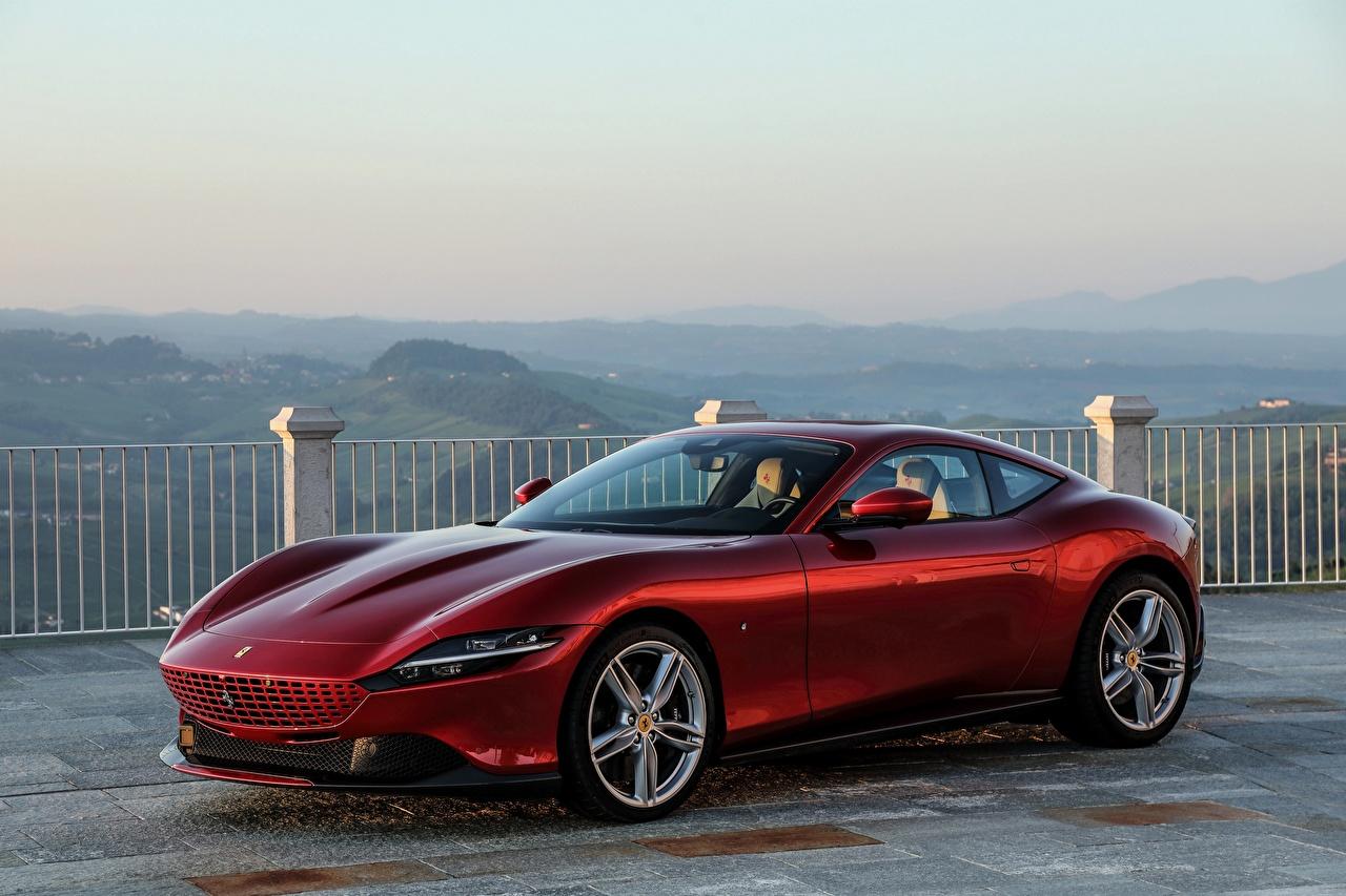 Фотография Ferrari Roma, 2020 Купе бордовая Металлик Автомобили Феррари Бордовый бордовые темно красный авто машины машина автомобиль
