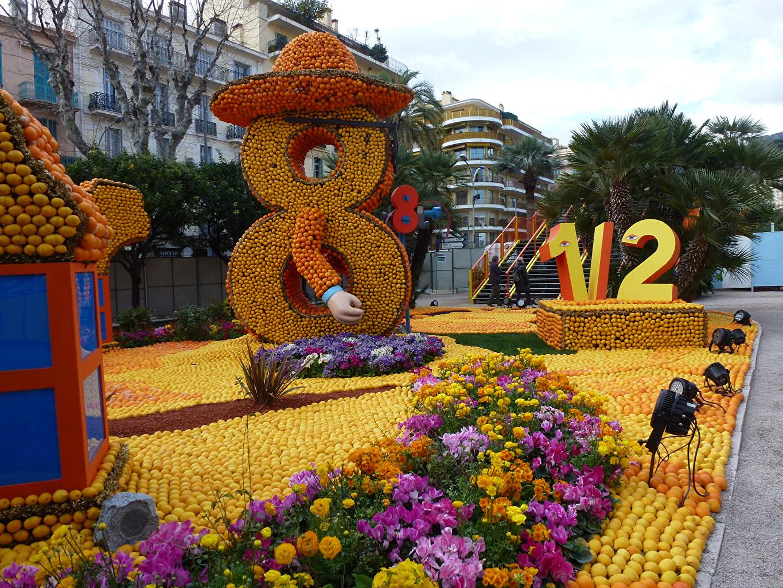 Картинка Франция Lemon Festival Menton Апельсин Парки город дизайна парк Города Дизайн