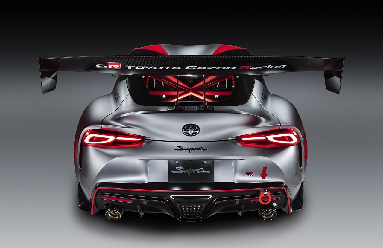 Фото Тойота GR Supra Track Concept, 2020 Купе серая Сзади машина Toyota Серый серые авто машины вид сзади Автомобили автомобиль