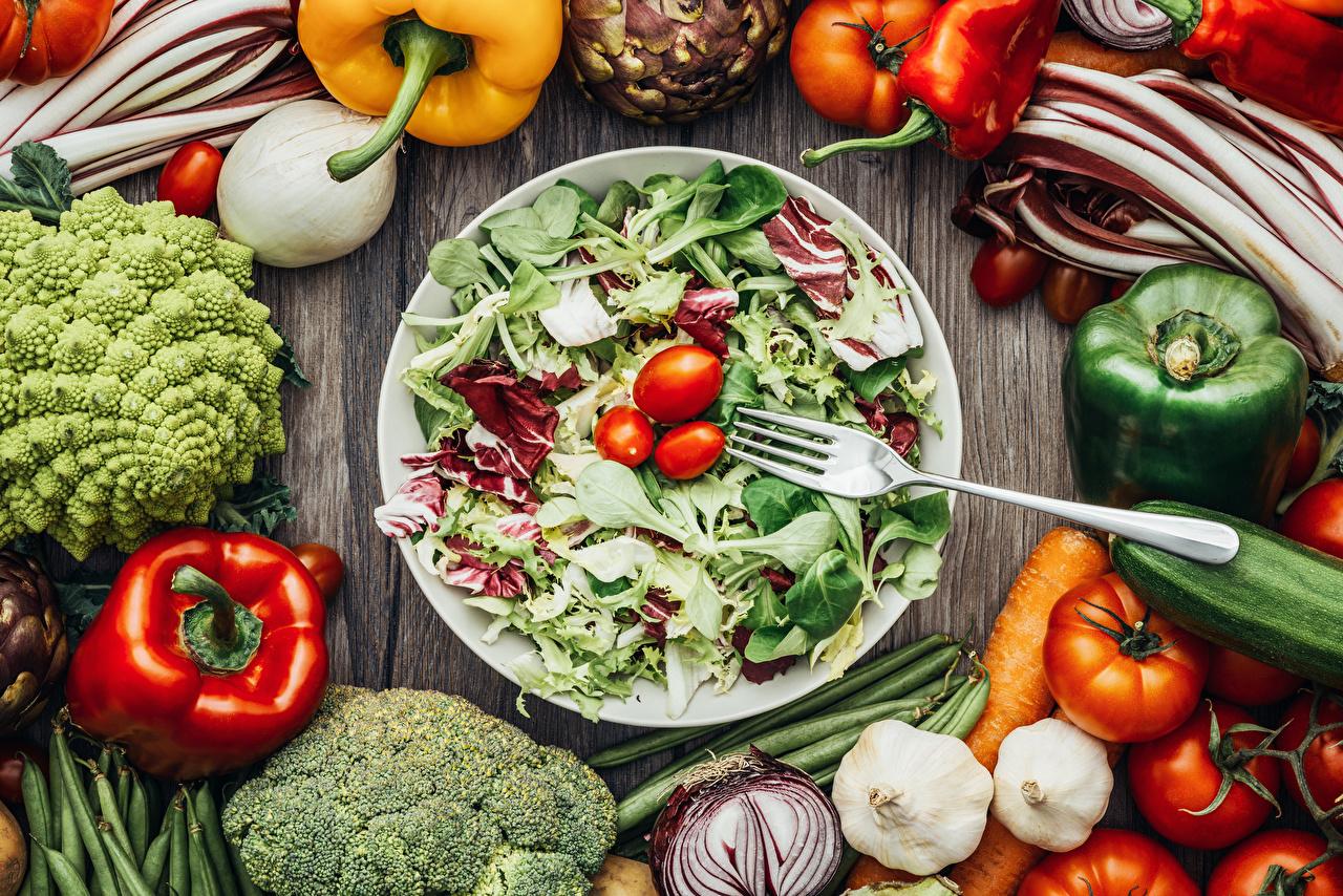Обои помидоры, овощи, чеснок, брокколи, салат, Перец. Еда foto 7