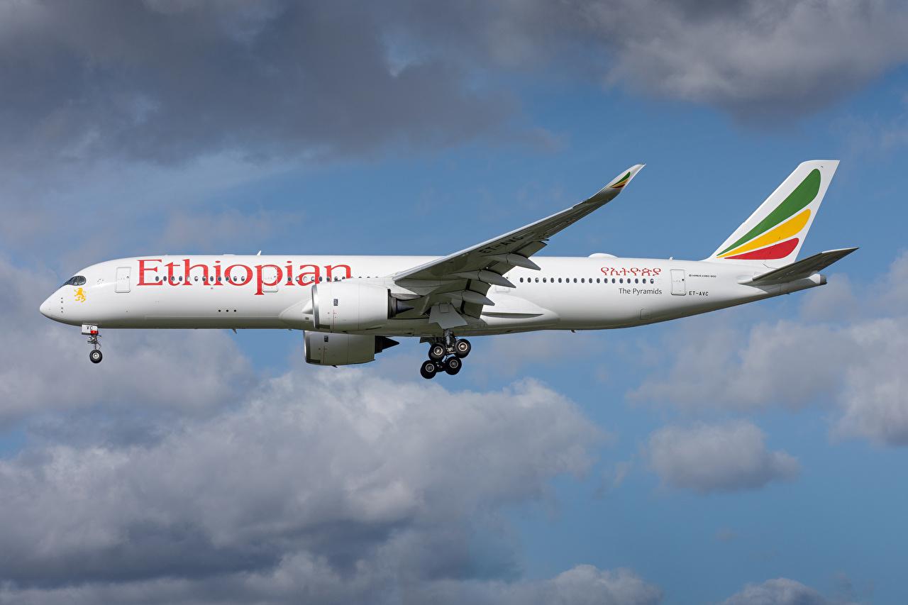 Картинки Эйрбас Самолеты Пассажирские Самолеты Ethiopian Airlines, A350-900 Сбоку Авиация Airbus