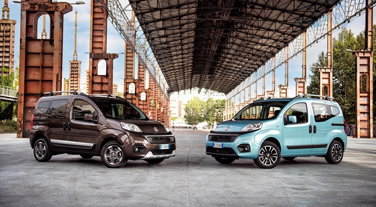 Картинки Fiat Qubo, Trekking, 2016 Минивэн два голубые Металлик автомобиль Фиат 2 две Двое вдвоем голубая Голубой голубых авто машины машина Автомобили