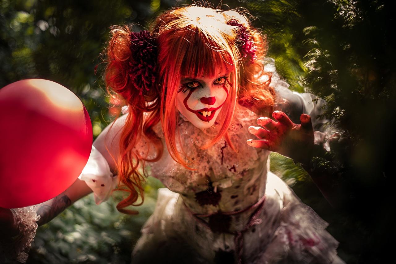 Картинка Рыжая уродливые Косплей Клоун Волосы Девушки ужасные Страшные