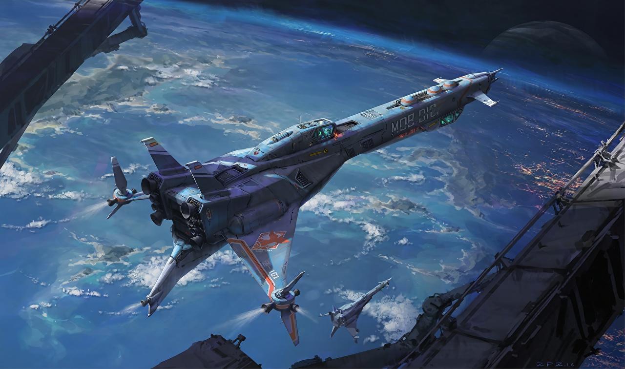 Фото Звездолёт Pengzhen Zhang Космос Корабли космолет корабль