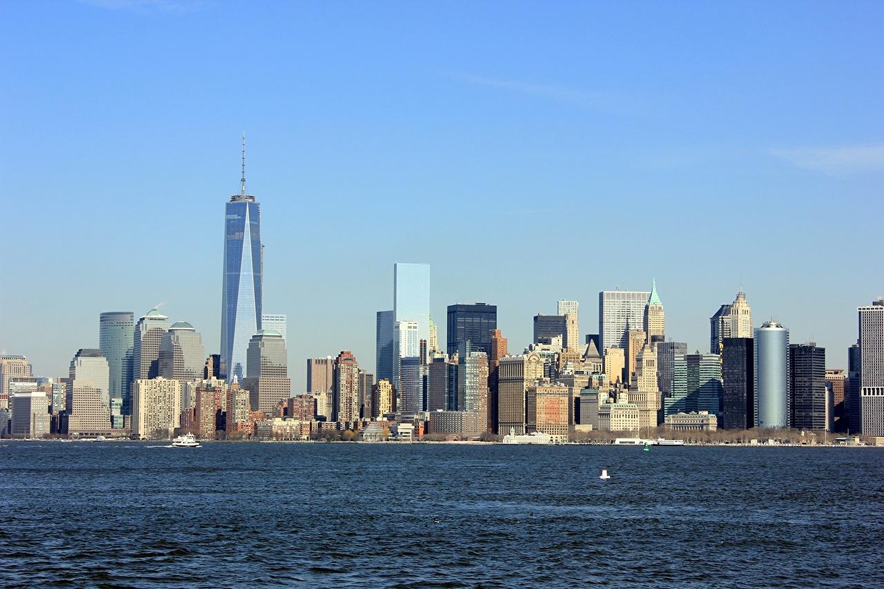 Обои Нью-Йорк Манхэттен штаты Hudson Небоскребы Города США