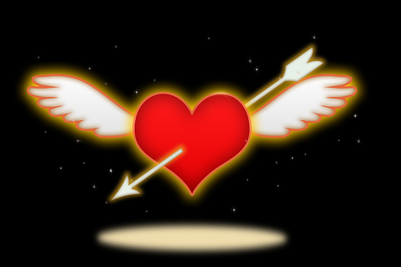 Обои для рабочего стола День всех влюблённых сердечко стрелы Крылья на черном фоне День святого Валентина серце сердца Сердце Стрела Черный фон
