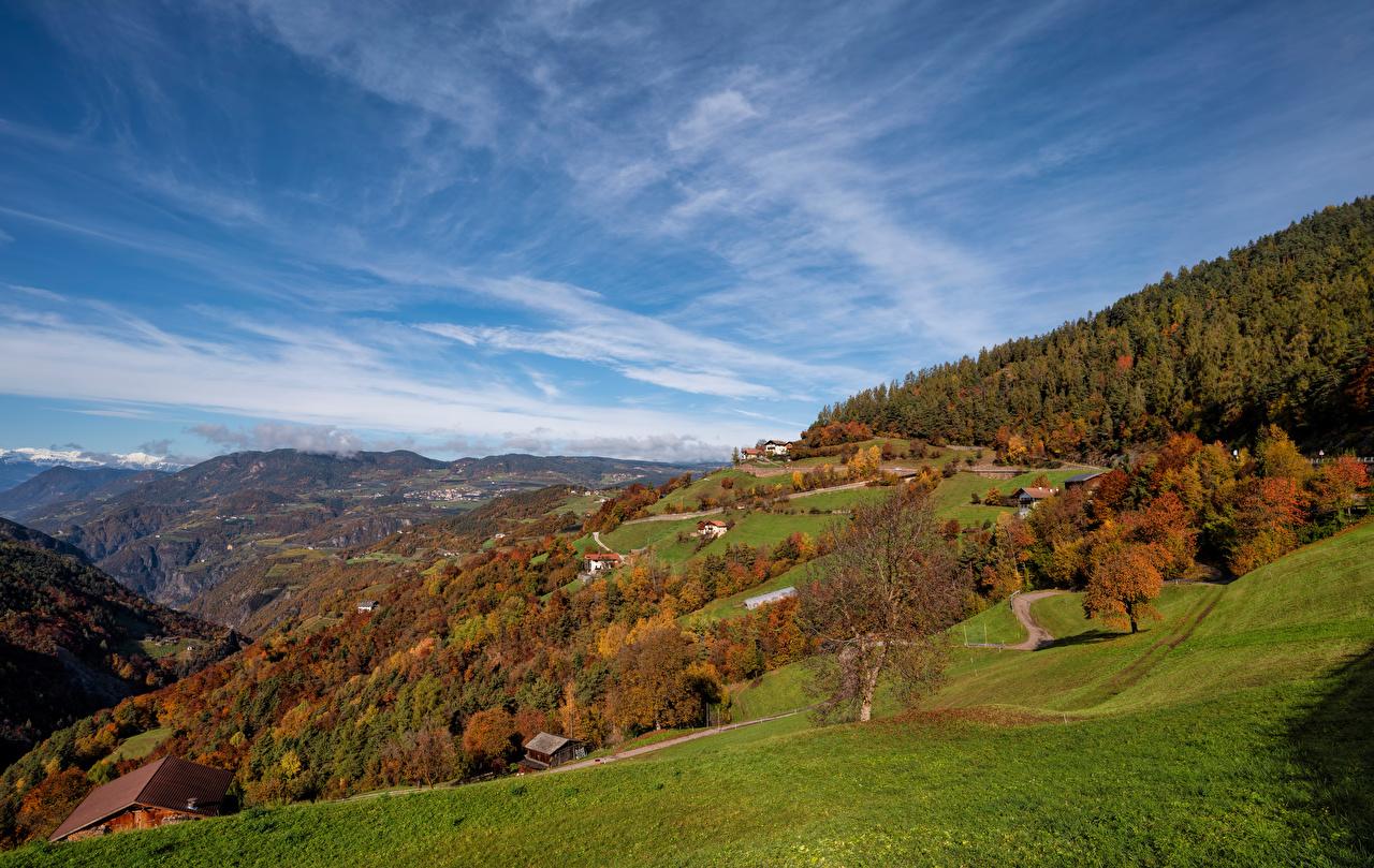Фотографии Альпы Италия South Tyrol гора Осень Природа Небо Пейзаж альп Горы осенние