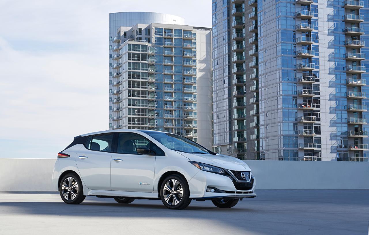Обои для рабочего стола Ниссан 2019 Leaf e Белый Металлик Автомобили Nissan белых белые белая авто машина машины автомобиль