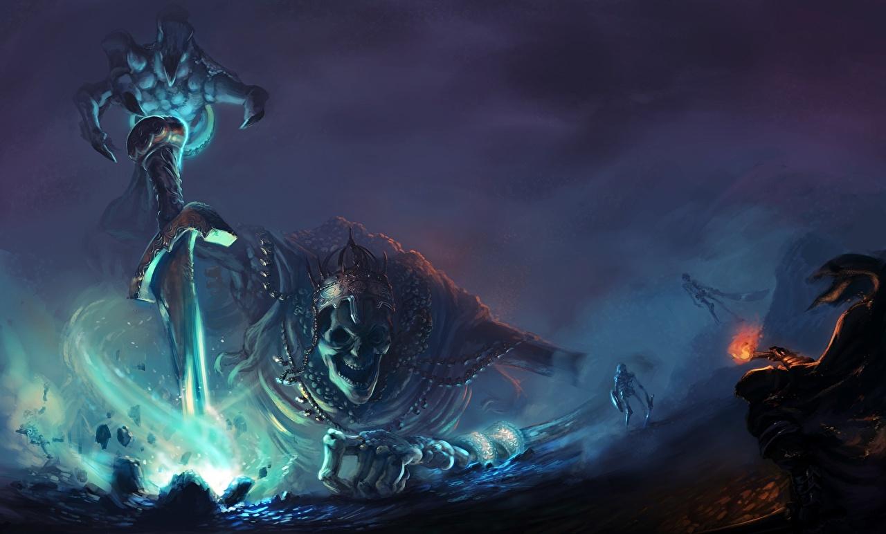 Фото Dark Souls III Мечи Нечисть Фан АРТ Скелет Фантастика Игры Dark Souls 3 меч меча с мечом Нежить Fan ART скелеты скелета Фэнтези скелетов компьютерная игра
