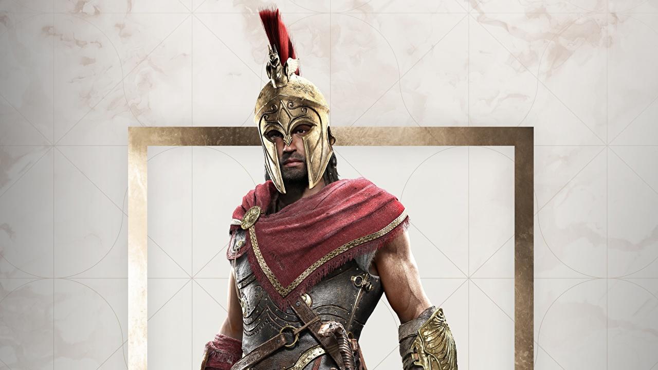 Фото Игры Assassin's Creed Воители Мужчины Assassin's Creed Odyssey Шлем компьютерная игра воин воины мужчина шлема в шлеме