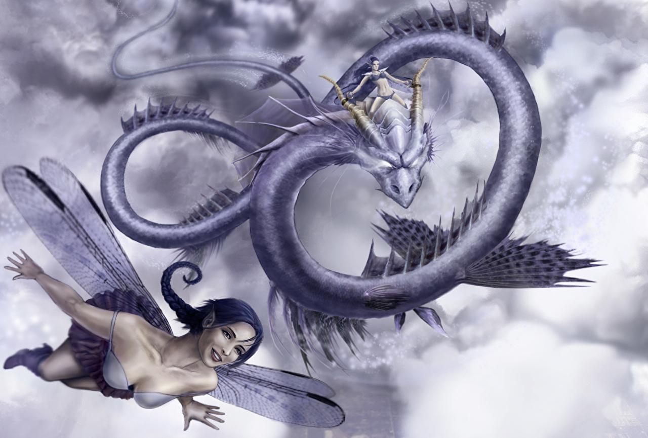 Фото Феи Драконы девушка Фантастика летящий дракон Фэнтези Девушки молодая женщина молодые женщины Полет летит летят