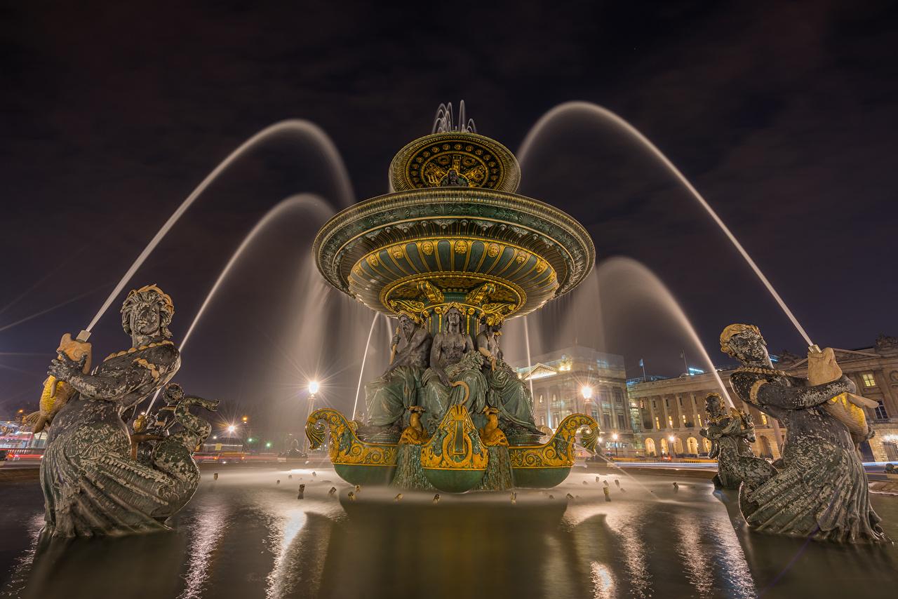 Обои Париж Франция Фонтаны Fontaine des Mers Ночные Уличные фонари Города Скульптуры париже Ночь ночью в ночи