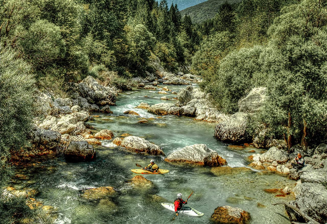 Обои Словения Природа Леса речка Лодки Камень Реки Камни