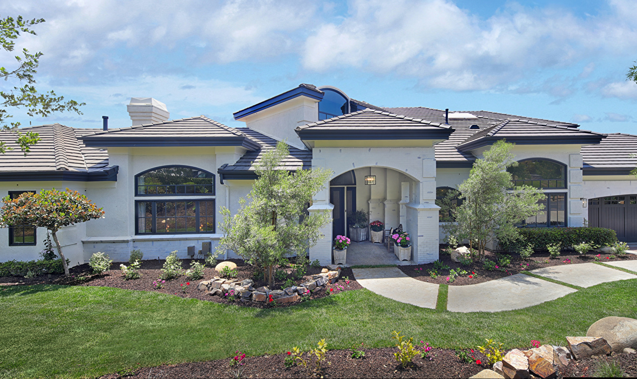 Картинка Калифорния США San Juan Capistrano Особняк Газон Города Здания Дизайн калифорнии штаты америка газоне Дома город дизайна