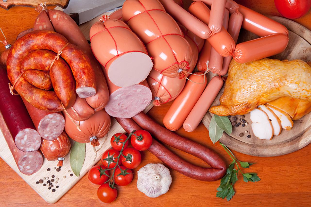 Фото Колбаса Помидоры Ветчина Курица запеченная Продукты питания Мясные продукты Томаты Еда Пища