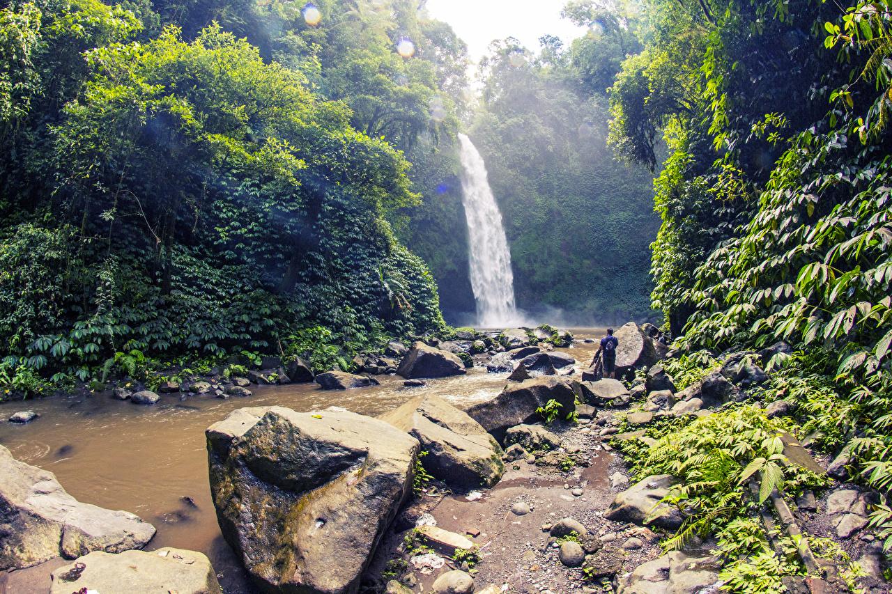 Обои для рабочего стола Индонезия Bali Скала Природа Водопады Тропики Камень Кусты Утес скалы скале тропический Камни кустов