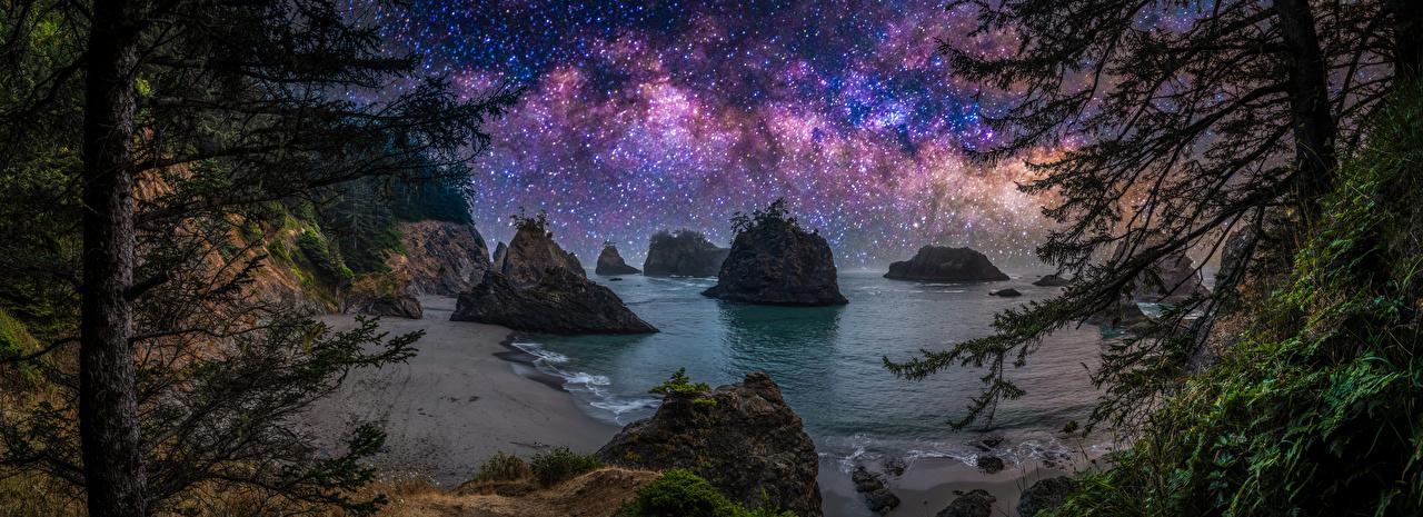 Картинки США Звезды панорамная Oregon скалы Природа берег Ночные деревьев штаты америка Панорама Утес скале Скала Ночь ночью в ночи Побережье дерево дерева Деревья